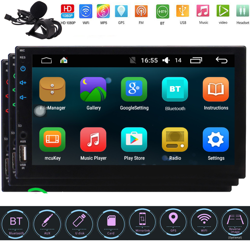 Autoradio Android Double Din autoradio avec Navigation, WiFi, micro externe, télécommande, prise en charge Fastboot, caméra de sauvegarde, SD