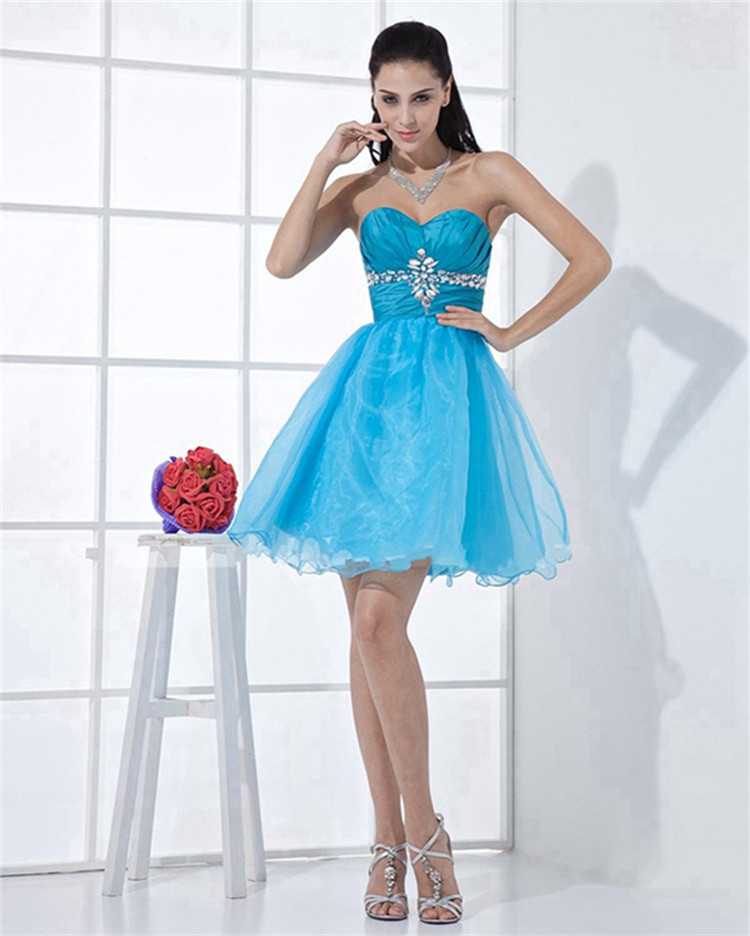Crystalruched Empire 8th Grade Prom Dresses Light Blue Semi Formal