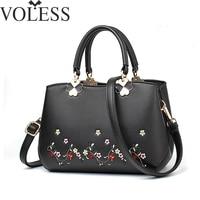Women Handbag Embroidery Pu Leather Top Handle Shoulder Bag Lady Fashion Designer Solid Crossbody Bags For