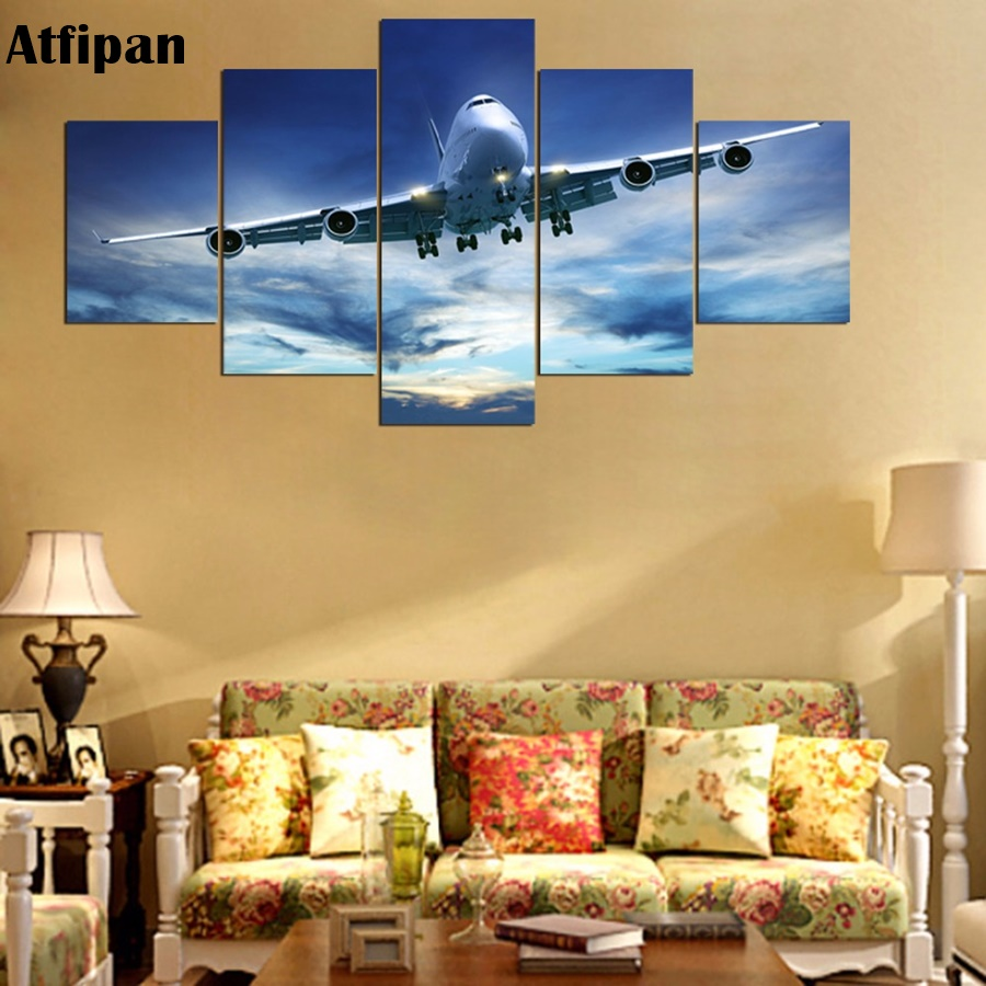 Atfipan Cool Airplane Canvas Painting HD Printed Home