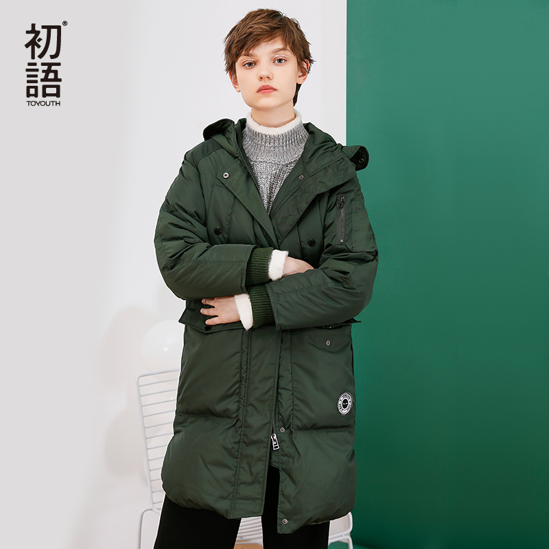 Toyouth Winter Warm Green Coat 80% White Duck Down Jacket Long Hooded Down Parkas Female Thicken Solid Outerwear Parkas