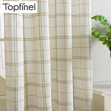 2016 Top Finel Cotton Linen Blending Plaid Tartan Sheer Voile Curtains for Living Room Bedroom Japanese Kitchen Curtains Drapery