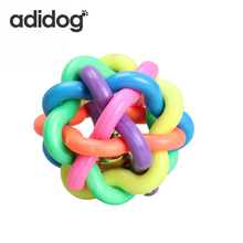 2018 New Pet Big Dog Cat Toy Colorful Rubber Round Ball With Small Bell Toy Ring Plush Dog toy Plush Girl
