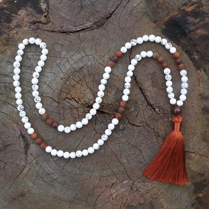 8mm round Howlite Japa mala 108 beads .