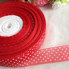 """HL 20yards 1"""" red weaving organza ribbon print dots gift packing belt wedding Christmas decoration sewing accessories A692"""