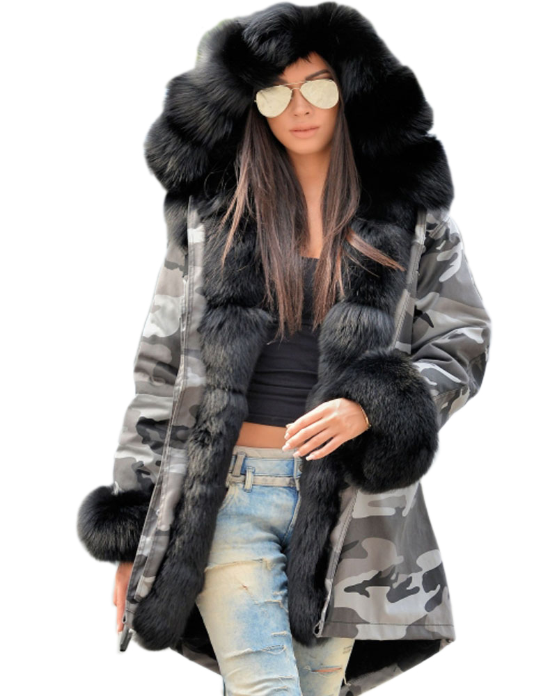 Roiii 2018 New Arrival Women' s Winter Coat Camouflage Loose Overcoat Thicken Hooded Black Jacket Fashion Collection