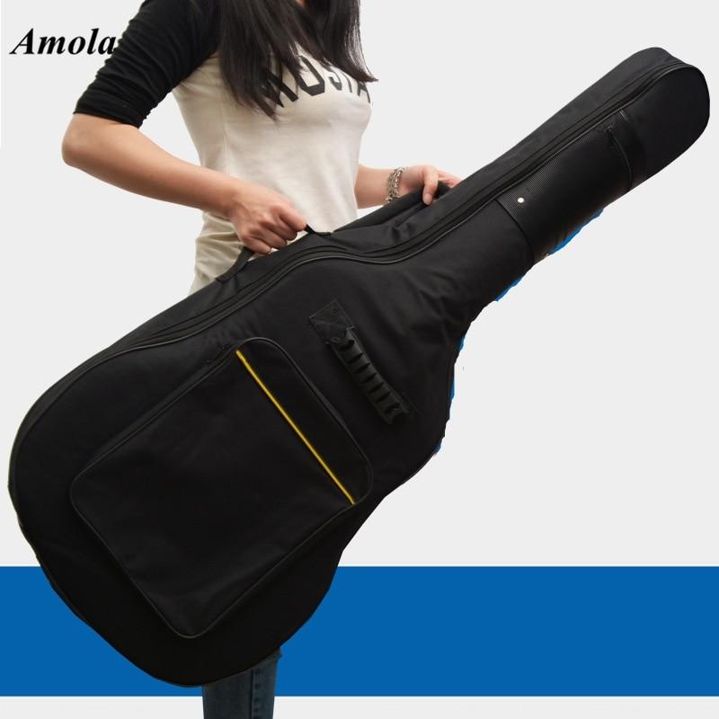 40 41inch Acoustic Classical Guitar Bag Case Backpack Adjustable Shoulder Strap Portable 4mm Thicken Padded Black amumu traditional weaving patterns cotton guitar strap for classical acoustic folk guitar guitar belt s113