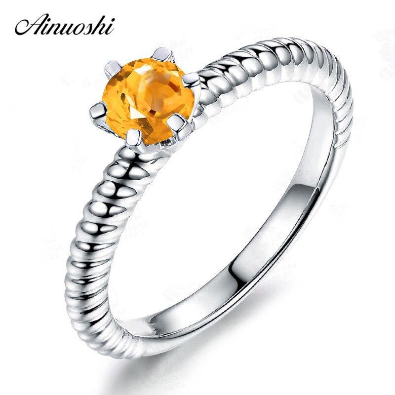 AINUOSHI naturel Citrine Solitaire anneau 0.5ct taille ronde gemmes 925 en argent Sterling corde anneau de fiançailles fête bijoux femmes anneau