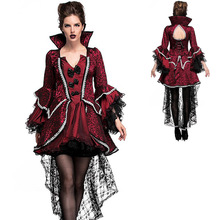 Adult Halloween Women Vampire Lace Dress Gothic Medieval Fancy Court Countess Collared Vintage Outfit Plus Size For Girls XXL