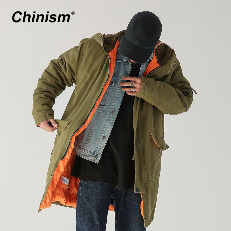 CHINISM Army Green Long Trench Coat Men Winter Thick Casual Outwear Hoodie Coat Loose Long Jackets High Quality Brand Clothing men s zip hoodie sweatshirt fall winter casual coat