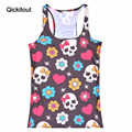 Qickitout Tops 2016 Summer Women Blouses Strapless Sleeveless Digital Print Casual Skull Colorful Flowers Tank Tops Ladies' Vest