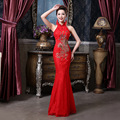 halter-neck peacock sequins rhinestone lace beaded satin backless vintage elegant retro embroidered cheongsams qipao red wedding