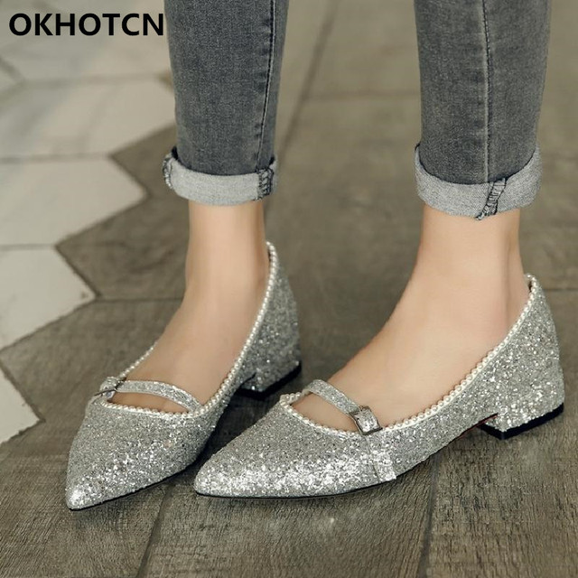 17c0723a3b9 Black Silver Pink Sequined Leather Bling Girl Nude Shoes Pointed Toe One  Buckle Mary Janes Low Chunky Heel Shoes Women Footwear