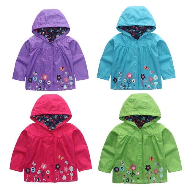 c9f3760d0 Baby Girl Boy Outdoor Coat Waterproof Flower Print Hooded Outwear ...