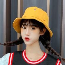 Candy Color Bucket Hat Women Cartoon Letter Bucket Hat Unisex Fisherman Hats Men Women Cotton Hip Hop Fishing Cap Sun Trunk