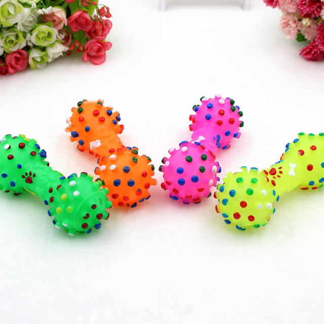 1pcs Pet Dog Cat Puppy Sound Polka Dot Squeaky Toy Rubber Dumbbell Chewing Funny Toy 4