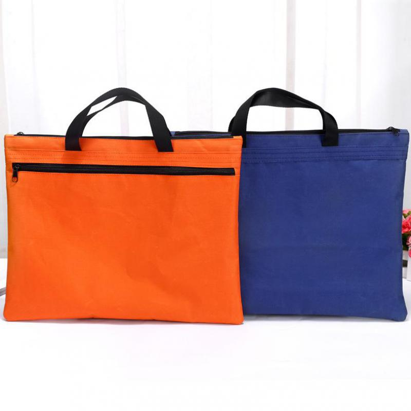 Hand-held Zipper Oxford Cloth A4 Double Deck File Bag Cross Section Of Flat Tablet Compu ...