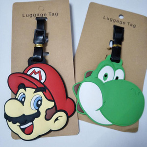 1 Pcs Cartoon Super Mario Bros PVC Cosplay Key Chain Soft Rubber Luggage Tag Boarding Pass Bag Tags Hanging Action Figures