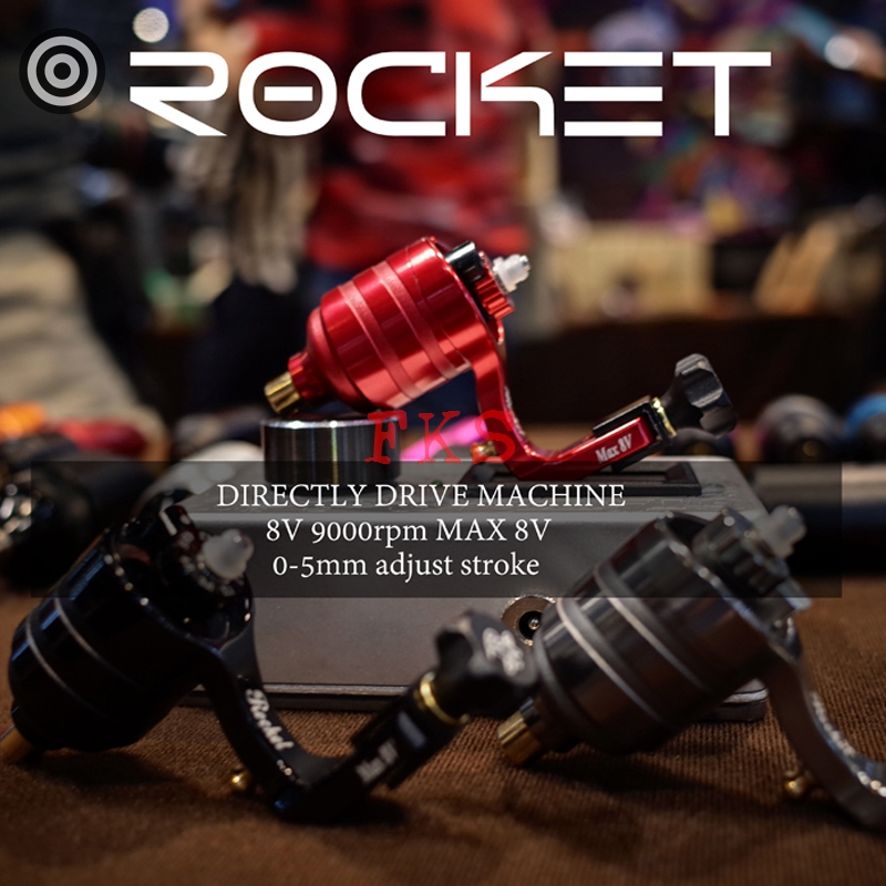1pc Rocket Directly Drive Tattoo Machine Japan Motor Mabuchi Rotary Tattoo Machines RCA Connector Adjustable Stroke Tattoo Pen