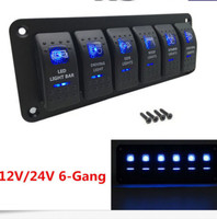 Waterproof IP65 Rocker Switch Panel 6 Gang 2LED Light Circuit Breaker DC 12V 24V environmentally friendly For boat/yachts/buses