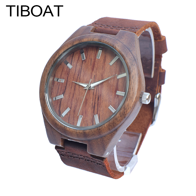 TIBOAT  Fashion Walnut Wooden Watch For Male And Female Christmas Gifts With Black Genuine Leather Watch Men Drop shipping акустика центрального канала paradigm prestige 45c black walnut