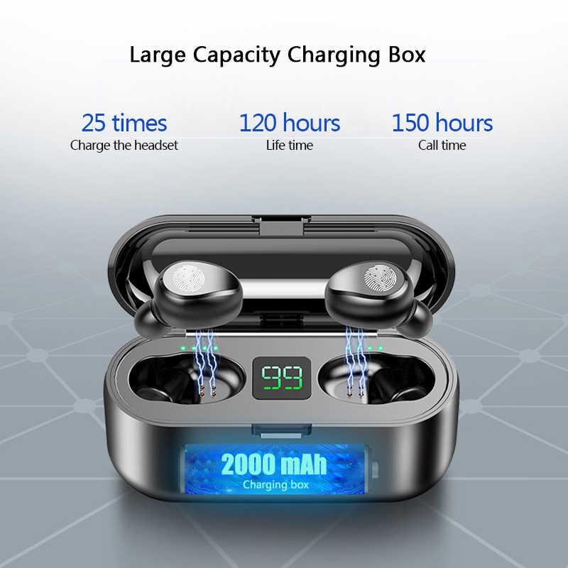 HANTOPER Bluetooth наушники мини TWS 5,0 Беспроводные наушники с 2000 мАч зарядная коробка Спортивная гарнитура с дисплеем питания