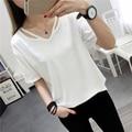 Moda Oco V-neck T-shirt Cor Sólida de Primavera Verão das Mulheres Novas Coreano Curto-de mangas compridas T Camisa Solta Assentamento Roupas 6122802