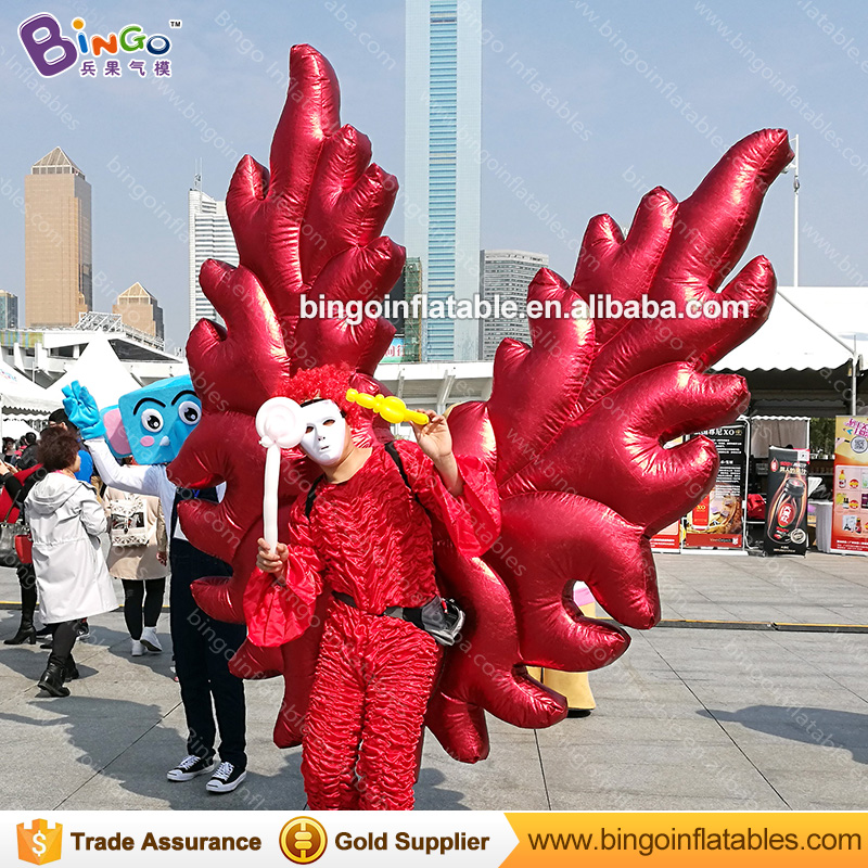 Free shipping 2X2 M red inflatable angel wings inflatable wings costume for promotion vivid butterfly wings clothing stage toys - 2