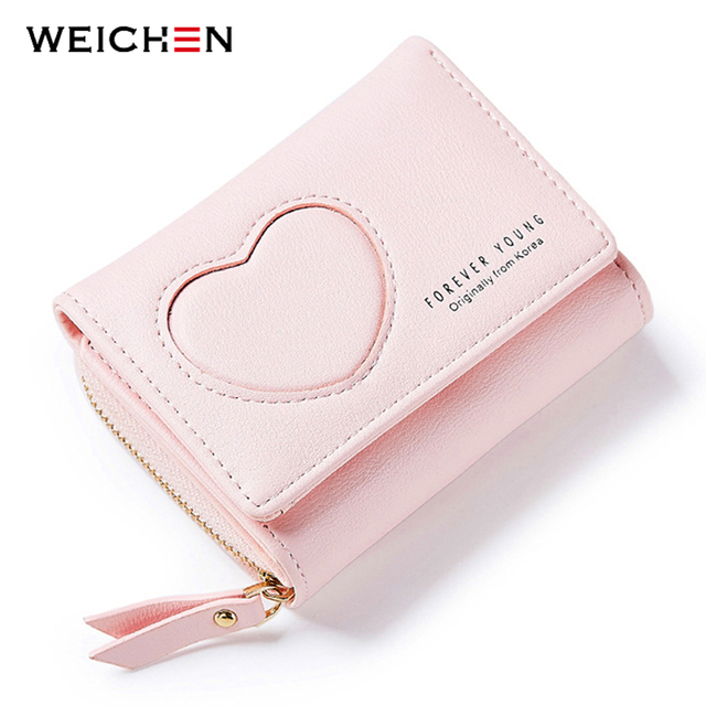 9be6e3dad64d1 WEICHEN Brand Korean Style Fresh Heart Patter Women Wallets Soft Leather  Girls Small Purse Female Wallet