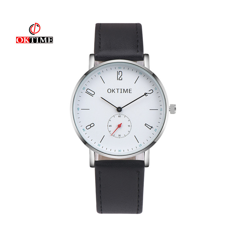 OKTIME brand 2017 new man Fashion Casual Men 's Bussines Retro Design PU Leather Band Analog Alloy Quartz Wrist Watch #100717 2017 new new retro design leather band analog alloy quartz wrist watch relogio feminino ladies watch 08