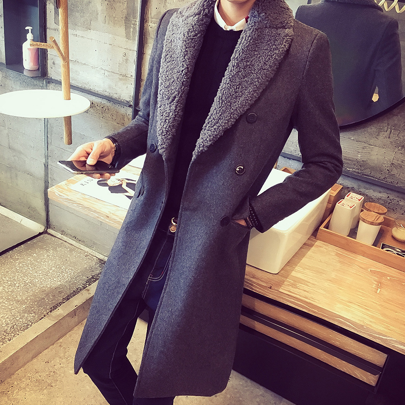 30% Wool 70% Polyester Wool Blend Triple Breasted Trenchcoat Long Jacket For Men With Fur Collar Blue Grey Manteau Long Homme microfiber wet room pads 24 in long split nylon polyester blend blue