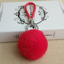 Big soft rex Rabbit Fur pom poms Ball braided rope key chain Car key ring creative gift handbag pendant High Quality KeyChain