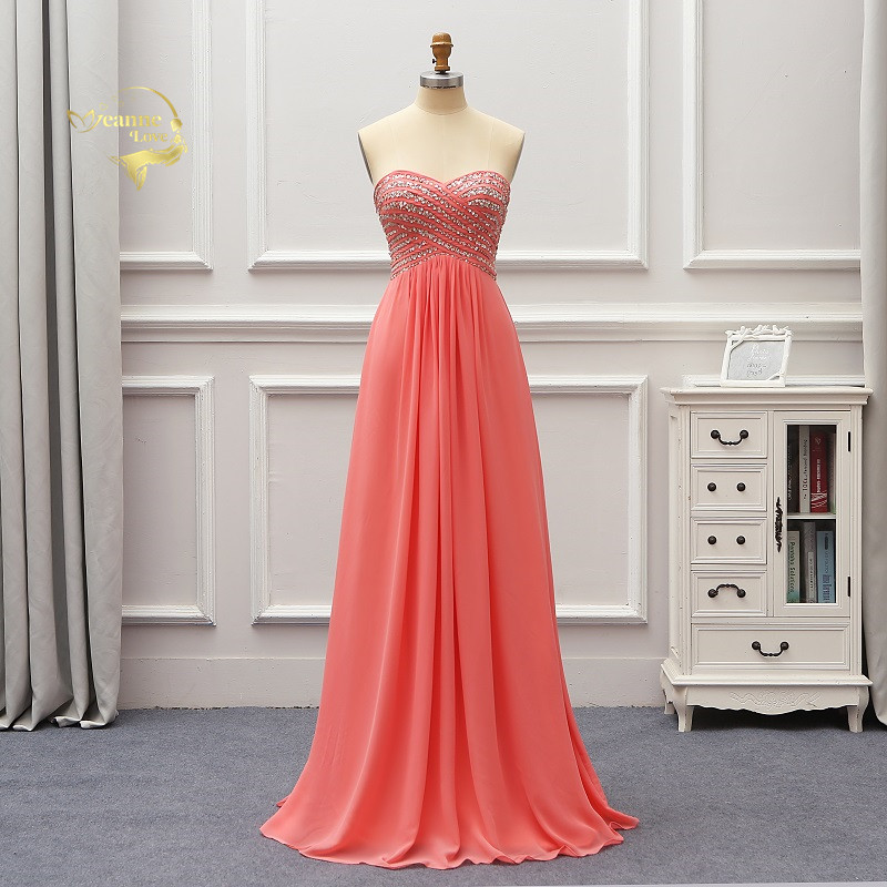 Long Coral Chiffon Formal Evening Dresses Beaded Bride Prom Party Gowns Casamento Abiye Elbise Robe Demoiselle D'honneur EV09