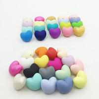 50 pcs/lot Hot Heart Shape Loose Silicone Beads For Teething Necklace Silicone Loose Beads For Baby Teether BPA Safe 20 colors