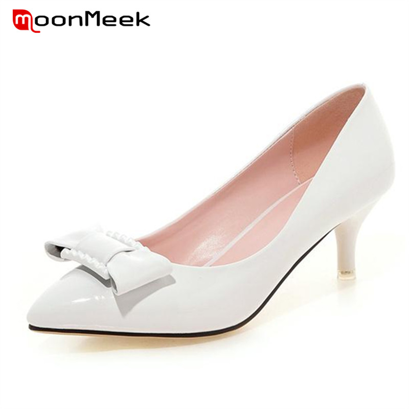 ФОТО MoonMeek 2017 Hot sale thin high heels wedding shoes bowtie solid pu single shoes four seasons women pumps 5.5cm fashion