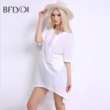 BFDADI 2017 Women Loose Casual Long Blouse O-neck Half sleeve Irregular hem Simple white shirts Plus Size L-6XL BF003
