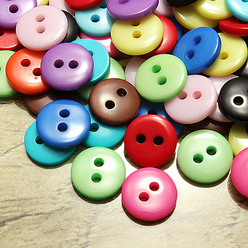 100Pcs Round Candy Color Resin DIY 2 Holes Buttons Scrapbooking Sewing Accessor