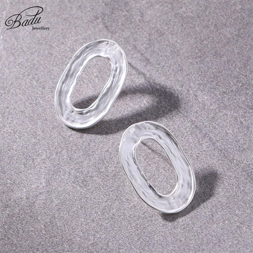 Badu Gold Oval Stud Earrings Hallowing Geometric Big Punk Statement Earrings for Women 2018 Korean Fashion Jewelry Wholesale in Stud Earrings from Jewelry Accessories