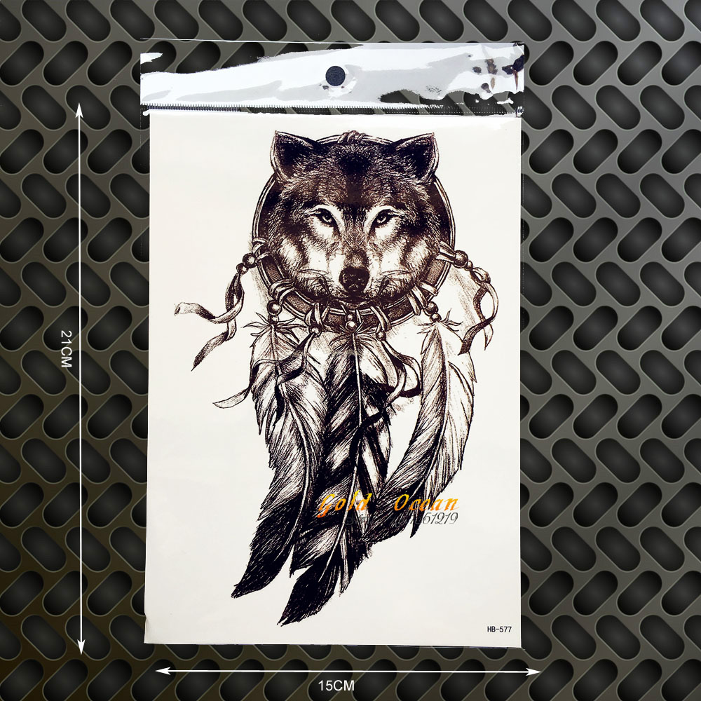 3D King Wolf Head Temporary Tattoo Dreamcatcher Designs Fake Tattoo Henna Paste 21x15CM Women Body Art Arm Tatoo Sleeve Men