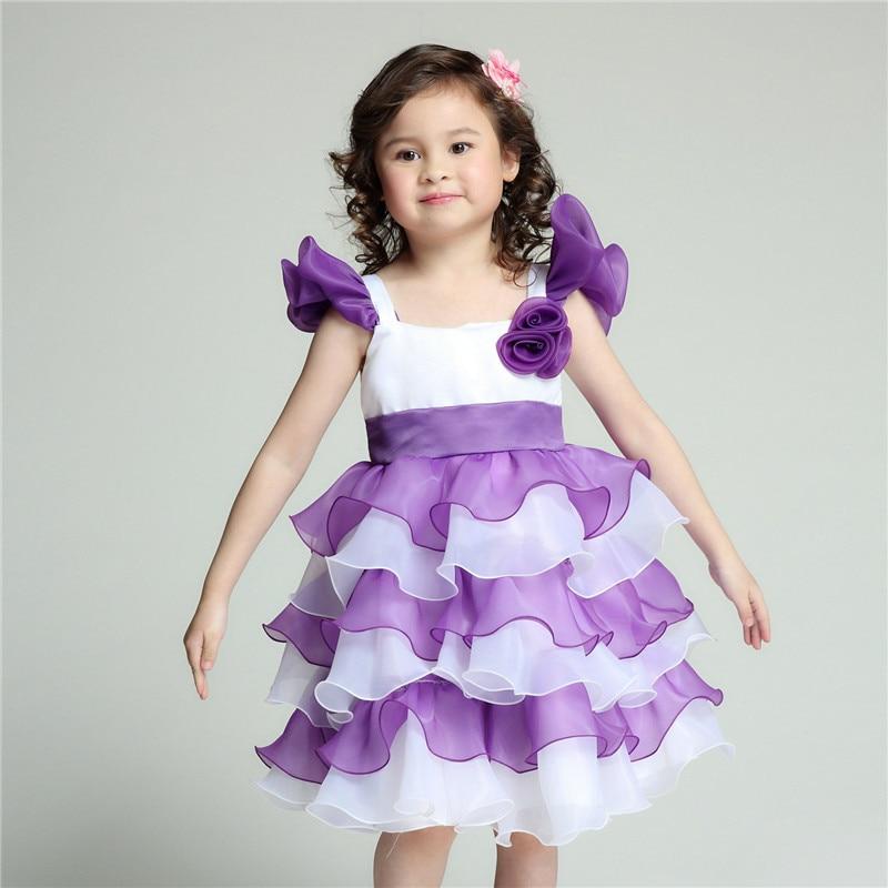 2017 Tiered Formal Flower Girl Dresses Purple Kids Wedding