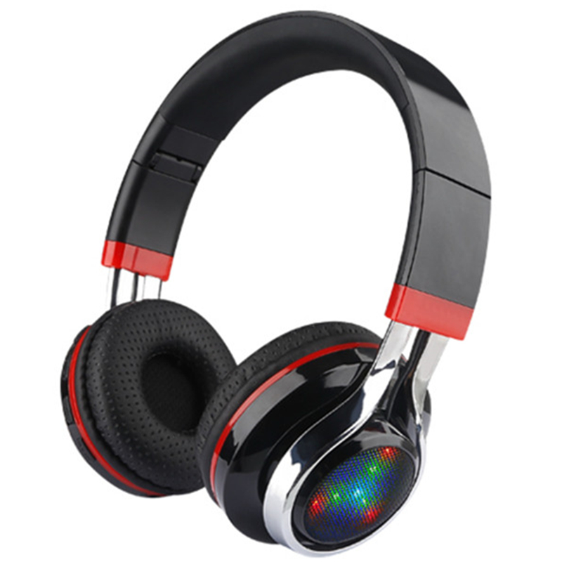 New Folding LED Wireless Bluetooth Headsets Stereo Adjustable Great Heavy Bass Headphones TF Card For Xiaomi Samsung PC Gamer bs 361 folding stereo bass headphones w tf fm speaker deep blue white