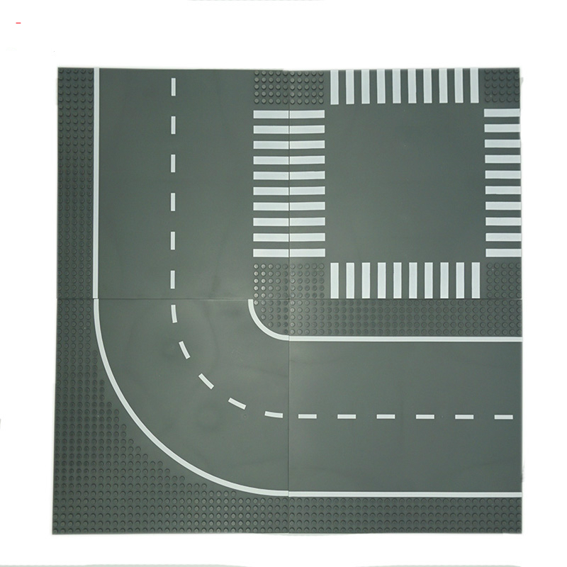 Crossroad Curve T Junction Road Building Blocks Parts Bricks Base Plate Models City Street Toys Compatible
