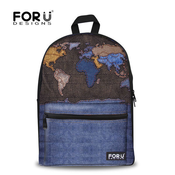 FORUDESIGNS World Map Women Backpack Vintage Style Women Canvas Wind Backpack Ladies Girls College School Bag Drop Shipping