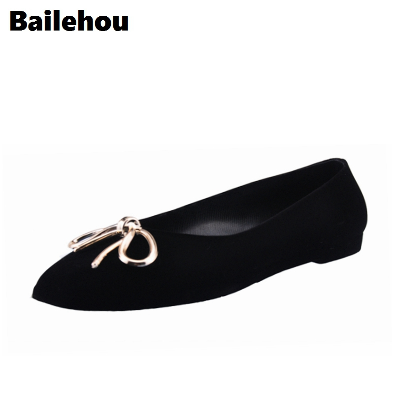 Bailehou New Arrivals Women Flat Shoes Reteo Flock Butterfly Knot  Ballet Flats Square Toe Slip On Casual Shoes 2017 womens spring shoes casual flock pointed toe narrow band string bead ballet flats flat shoes cover heel women flats shoes