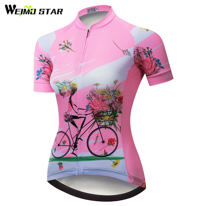 Weimostar Cycling Jersey Women Pink Summer Team Racing Cycling Clothing Maillot Ciclismo Quick Dry Bike Jersey mtb Bicycle Shirt