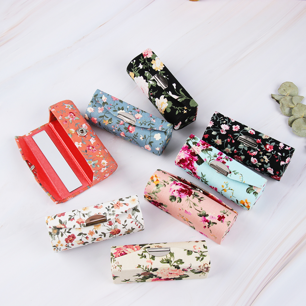 Retro Embroidered Lipstick Cosmetic Case Flower Designs With Mirror Makeup Storage Packaging Lip Gloss Box Women Fashion Gift