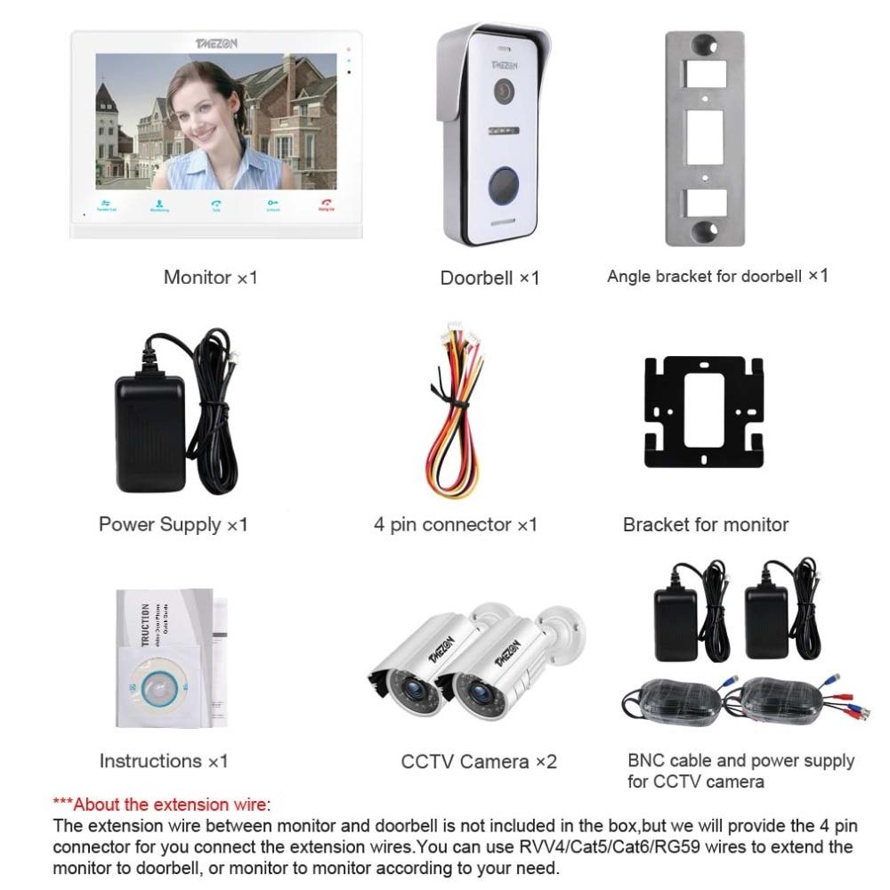 Купить с кэшбэком TMEZON 10 Inch Wif Video Door Phone Intercom Doorbell Home Security System Door Speaker Call Panel+7 inch Monitor +2x960p Camera