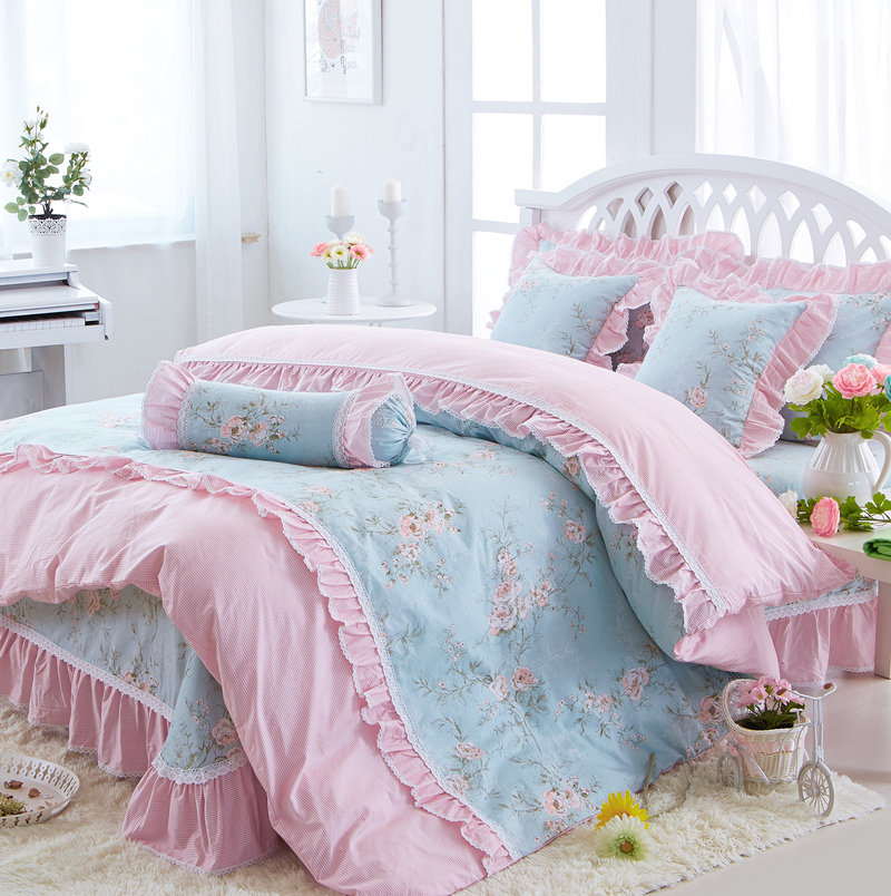100 Cotton Floral print Princess Bedding set soft bedclothes twin queen king size Girls Bed sheet