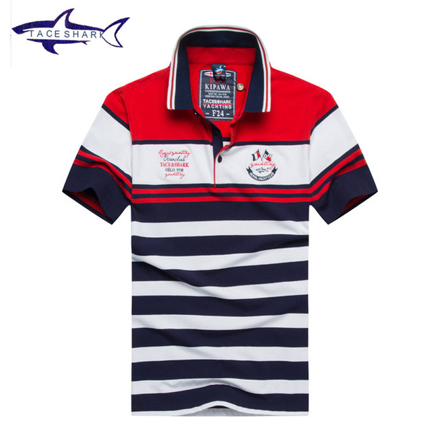 US $19 0 11% OFF|New Tace & Shark mens polo shirt brands top quality cotton  striped short sleeve polo homme man comfortable cool shark logo polo-in