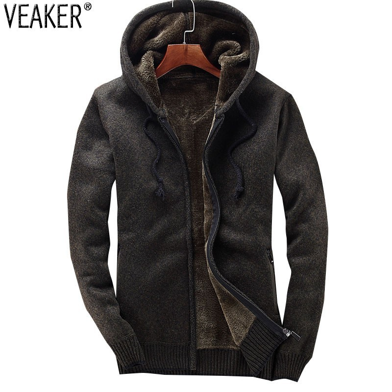 2018 Winter New Men's Hooded Sweatercoat Male Thick Sweater Jackets Coat Casual Warm Sweater Knitted Outerwear M 3XL